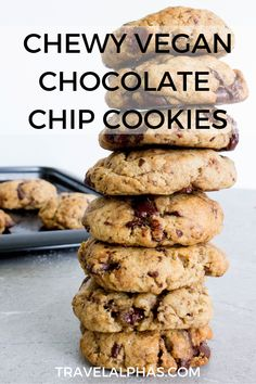 This is the best vegan chocolate chip cookies recipe. Sweet, salty, perfectly chewy, it includes all of the traditional ingredients, without eggs or butter.  This recipe incorporates dark chocolate chunks from chocolate bars, coconut oil, brown sugar, and more, to accomplish the chewiest, most delicious cookies. Plus, the recipe is super easy and quick. #VeganChocolateChipCookies #VeganCookies #VeganDessert #HealthyDessert