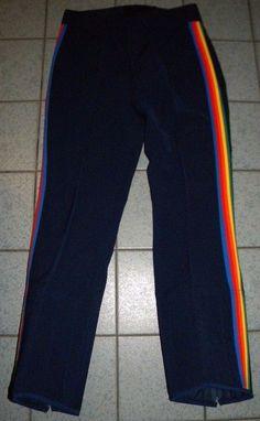 40bb9a179c Vintage OBERMEYER Japan Rainbow Stripe 1970 s SKI PANTS Ladies Size L 14   Obermeyer  SnowsuitsBibs