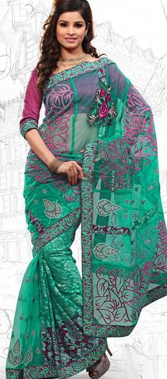 $59.03 Emerald Green Net Latest Fashion Saree 16713 With Unstitched Blouse
