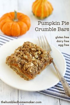 The pumpkin pie crumble bars are the perfect fall treat! They're dairy, egg, and gluten free, too, and made with natural ingredients!