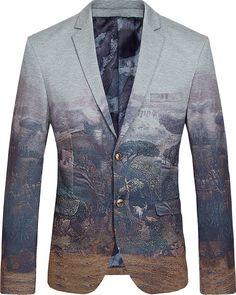 Brilliant Nature Art Fancy Grey Cotton Blazer