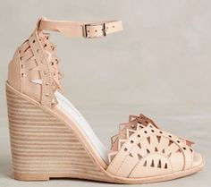 Tan lace style wedges