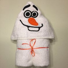 "Snowman Applique Hooded Bath, Beach  Towel 30"" x 54"" by MommysCraftCreations on Etsy"