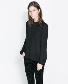 Image 1 of BLOUSE WITH BUTTONS from Zara Cheap Blouses, Shirt Blouses, Blouses For Women, Zara Tops, New Fashion, Womens Fashion, Fashion Ideas, Black And White Colour, Zara Women