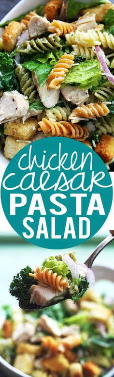 Chicken Caesar Pasta Salad Recipe | minus the red onion