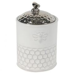 Featuring a porcelain honeycomb design, this lidded canister is a charming accent that will store your baking or bathroom essentials. Includes canister and W x H x DPorcelainImported Kitchen Canisters, Kitchen Items, Kitchen Stuff, Kitchenware, Kitchen Things, Kitchen Gadgets, Tableware, Kitchen Decor, Bee Honeycomb