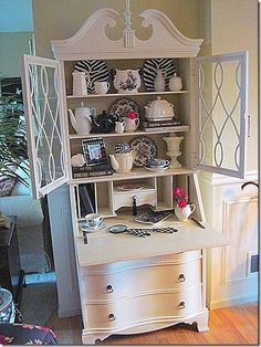 decorating shelves in an antique secretary desk - - Yahoo Image Search Results