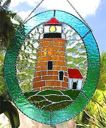 """Brown Stained Glass Lighthouse Suncatcher -  Nautical Design - 10"""" x 12"""" - $54.95  - Handcrafted Stained Glass Designs  * More at www.AccentOnGlass.com"""