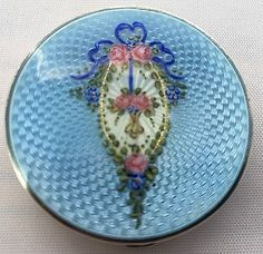 Antique Sterling Silver Blue Enamel Hand-Painted Floral Ladies Makeup Compact