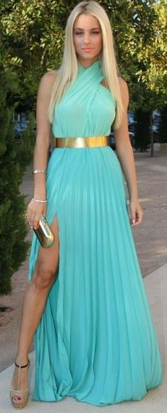 I would love to rock this look for the wedding, including the belt!   Glam long blue green dress. love the gold belt!