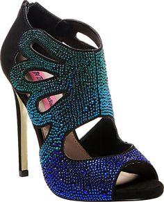 Betsey Johnson Nolaa Black and Blue Crystal High Heels: Shoes
