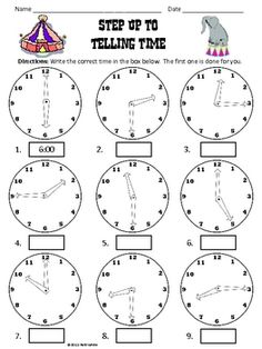 Here's a nice handout for practicing telling time.