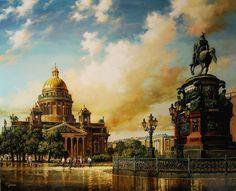 САНКТ ПЕТЕРБУРГ маслени бои , платно Васил Горанов SAINT PETERSBURG oil on canvas Vasil Goranov