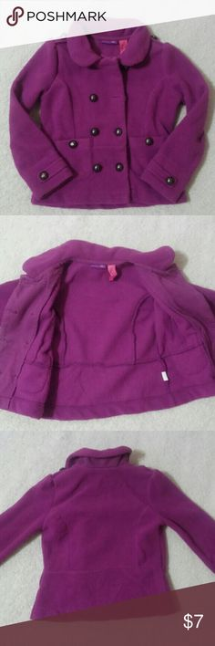 Girl's Peacoat Sweater Purple double breasted style jacket. Fleece material. Great for fall. Jackets & Coats Blazers