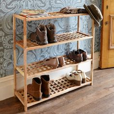 Store up to 20 pairs of shoes on this stylish addition to our walnut shoe family.
