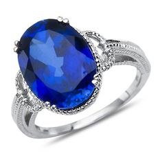 Created Sapphire Fashion Ring 10k White Gold Nissoni Jewelry…