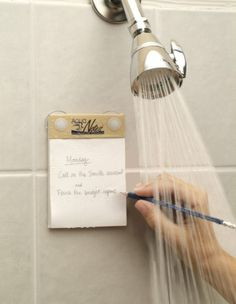 Waterproof notebook and pencil for the shower-Great idea!
