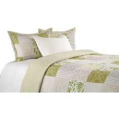 Bay Isle Home Bloxom Cotton Reversible Quilt Set Size: King Boho Comforters, Amity Home, Striped Quilt, Green Quilt, Ruffle Bedding, Cotton Sheet Sets, Quilt Sets, Duvet Cover Sets, Bed Covers