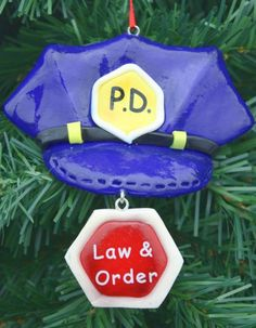 Police & Sheriff Christmas Ornaments - Wooden Police Officer Santa Ornament