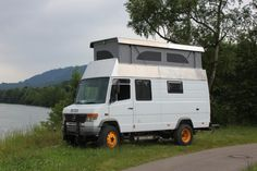 We have considered a pop up style roof to add some overhead room. Mercedes Camper, Mercedes Vario, Car Camper, Tacoma Truck, Truck Tent Camping, Van Camping, Camper Van Life, Chevy Van, Rv Camping