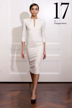 Cream 3 /4 sleeve stretch felt dress with a slash neck, structured panel detail and a rose gold zip.