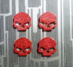 Handmade Glitter Sparkle Red Resin Skulls by GothicChameleon, £3.16