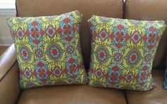 "More pillows: Amy Butler's Stash Belle ""Kashmir in Okra"" 16"" sq. All pillows & runners are for sale on EBAY, search user moxiebo2. SOLD"