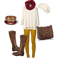 a cute outfit for fall, but change the leggings to black and replace the long boots with short ones