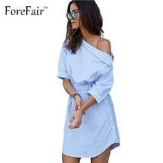 >> Click to Buy << Forefair New Arrival Blue-White Boardwalk Striped Shirt Dress Women Sexy One Shoulder Belted Casual Tunic Party Dresses #Affiliate