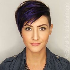 Brown Pixie Undercut With Blue Highlights. Love the highlights