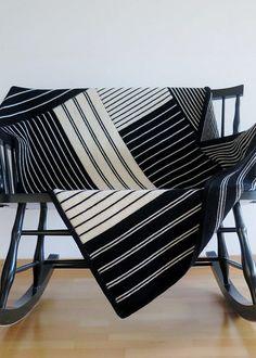 Free Knitting Pattern for Modern Log Cabin Blanket