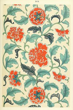 "Examples of Chinese ornament (1867) by  Owen Jones (1809–1874). ""From a painted china Vase. A bold composition on the continuous-stem principle."" Internet Archive Wikimedia."
