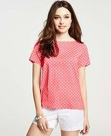 Summer Dot Print Top - Show off your sweet spot with this dot-sprinkled top, finished with a button down back for unexpected detail. Boatneck. Short sleeves. Button down back.