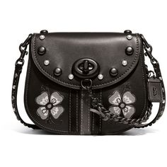 Coach 1941 23 Western-Embroidered Leather Saddle Bag ($735) ❤ liked on Polyvore featuring bags, handbags, shoulder bags, black, western purses, studded leather purse, genuine leather handbags, chain shoulder bag and western leather handbags