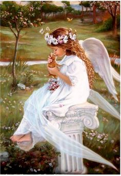 Young girl angel and kitten sitting on a outdor bench in heaven. I Believe In Angels, Angel Pictures, Angels Among Us, Angels In Heaven, Heavenly Angels, Guardian Angels, Angel Art, Faeries, Beautiful Pictures