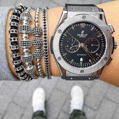 Amazing shot with men style bracelets & Hublot watch! ✔