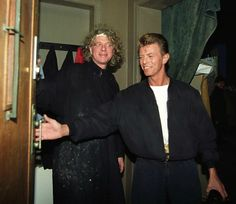 "berlin-1976: ""David Bowie and Norweigan painter Odd Nerdrum, Oslo, 1991 - Bowie purchased his painting entitled ""Dawn"" """