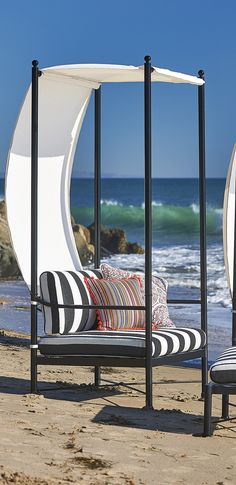 The purity of form and meticulous craftsmanship of the Roma Canopy Chair pays homage to classicism.  | Frontgate: Live Beautifully Outdoors