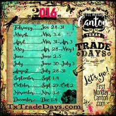 Texas Trade Days Canton First Monday 2016 Dates ***Get the Free Mobile App with map & vendor info! Texas Vacations, Texas Roadtrip, Family Vacation Destinations, Texas Travel, Vacation Ideas, Canton Texas Trade Days, Canton Tx, Canton Flea Market, Canton First Monday
