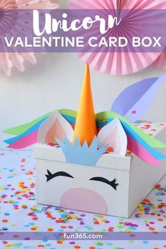 Create this DIY unicorn card box for Valentine's Day this year. This Valentine's Day card box is perfect for classroom parties at school or daycare.