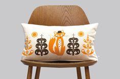 Scandinavian orange brown Fox Cushion folk retro wood by gunnaydri, $30.00