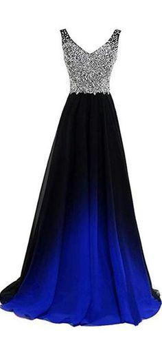 452513f7664 V Neck Beaded Chiffon Ombre Cheap Long Evening Prom Dresses