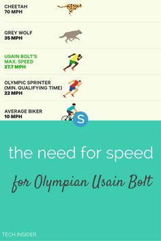 Jamaican Olympian Usain Bolt's top speed has been clocked at 27.7 mph. In other words, he can run faster than you can drive through a school zone. But how does his speed compare to a cheetah, or, say, Michael Phelps in the pool?