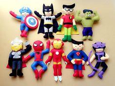 Super Heroes Felt Plush Toy  Superman Batman Spiderman by Feltnjoy, $18.00