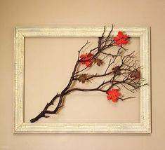 manzanita branch in an open frame for seasonal decoration fall-decorations Manzanita Branches, Tree Branches, Thanksgiving Tablescapes, Thanksgiving Decorations, Fall Crafts, Diy And Crafts, Rama Seca, Fall Table Settings, Decoration Christmas