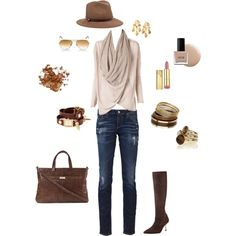 Casual blue jean outfit with warm brown tones created by tsteele