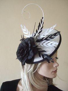 Black & White Saucer with Feathers Quills Rose and Crystals Fascinator Kentucky Derby Hat