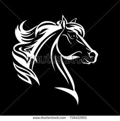 horse profile design - white head against black background vector illustration