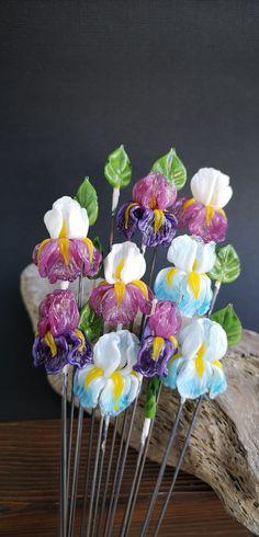 Lampwork flower Beads by JewelryBeadsByKatie. Lampwork 3D Flower Iris Beads for jewelry making. Made to order 1 pcs 22x22 mm. Glass Jewelry making supplies and findings for earrings, bracelets, necklaces, brooches and hair jewelry #luxaryjewelry #jewelrymaking #flowerbeads