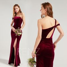 Bridesmaid Dress Burgundy Velvet Wedding Dress One Shoulder Fitted Prom Dress Long Open Back Party Dress with Long Slit Formal Dress (HV956) Prom Dresses Long Open Back, Fitted Prom Dresses, Long Wedding Dresses, Formal Dresses, Dress Long, Velvet Bridesmaid Dresses, Velvet Dresses, Wine Dress, 34c